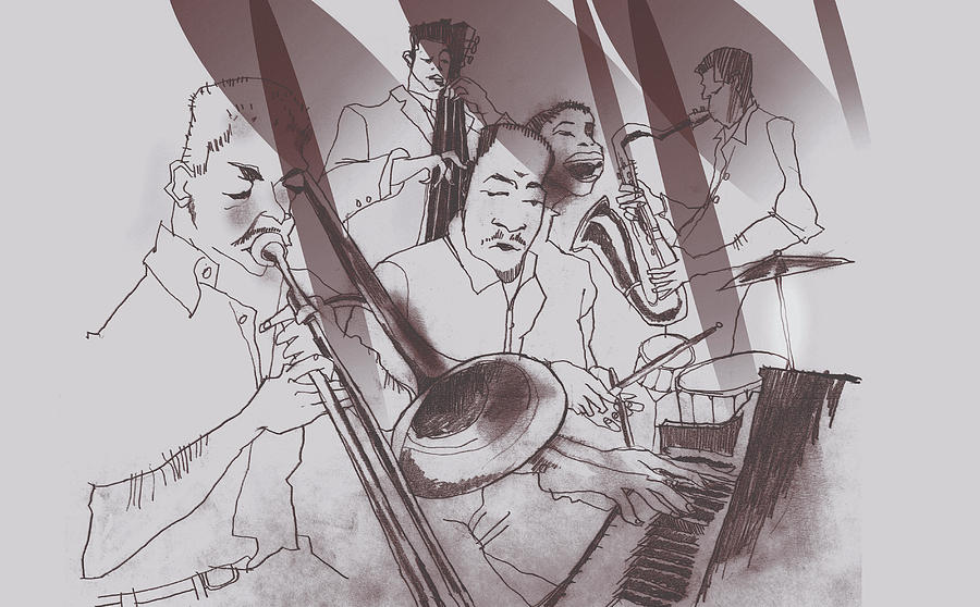 Jazz Band Performing Together Digital Art by Lopetz