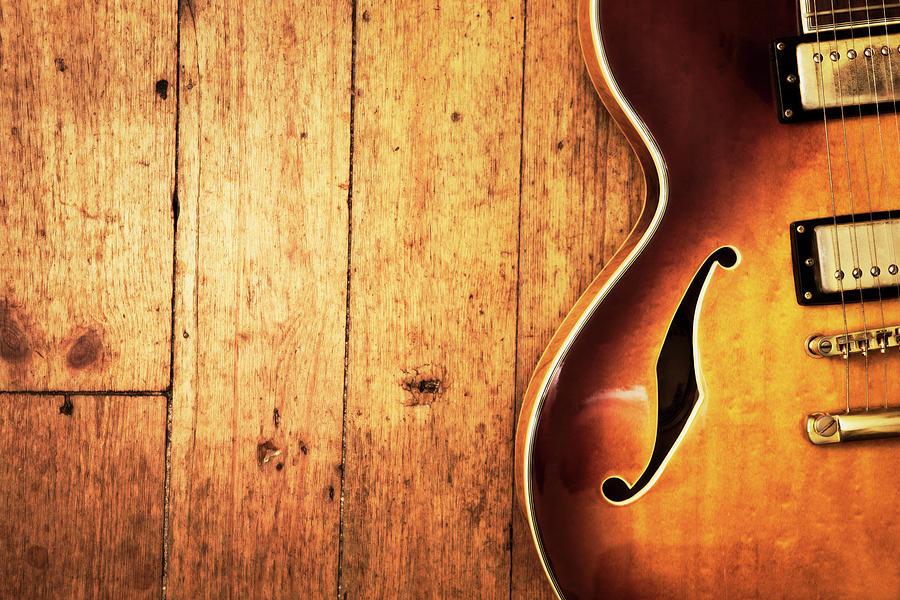 Jazz Blues Guitar On Wood Photograph by Rapideye