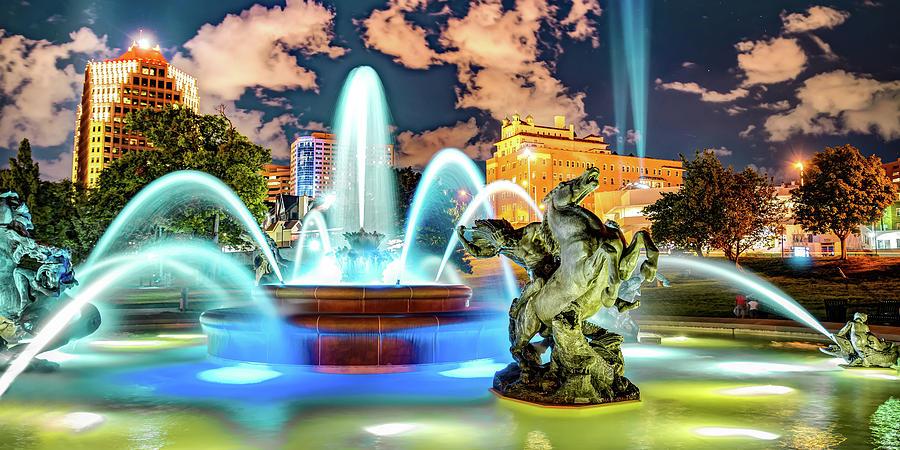 J.c. Nichols Memorial Fountain And Statues Panorama - Kansas City Plaza Photograph