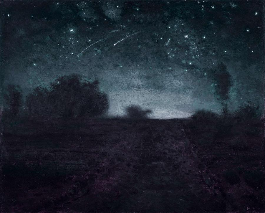 Nature Painting - Jean-francois Millet, French, 1814- 1875 Starry Night Ca. 1850- 65 -  Infrared Version by Celestial Images