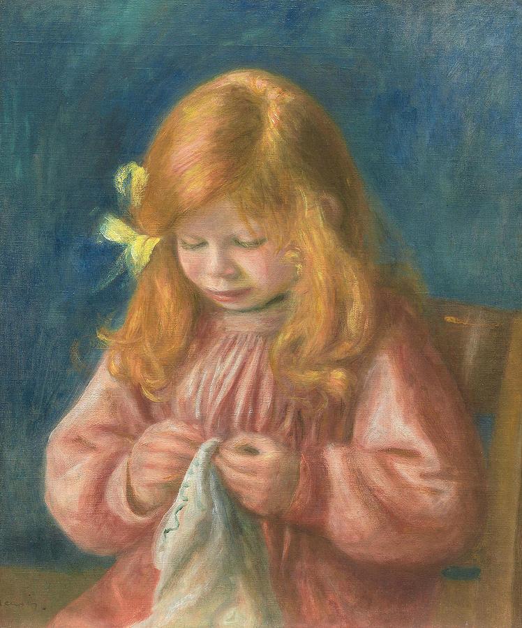 Jean Renoir Sewing by Auguste Renoir