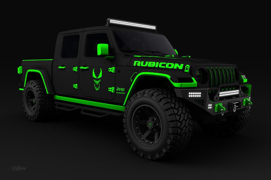 Jeep Digital Art - Jeep Gladiator Rubicon 2020 Custom Venom Edition by TJ Solstad