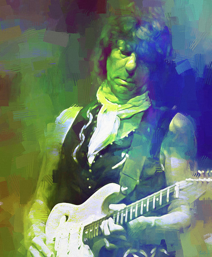 Jeff Beck Mixed Media - Jeff Beck, Love Is Green by Mal Bray