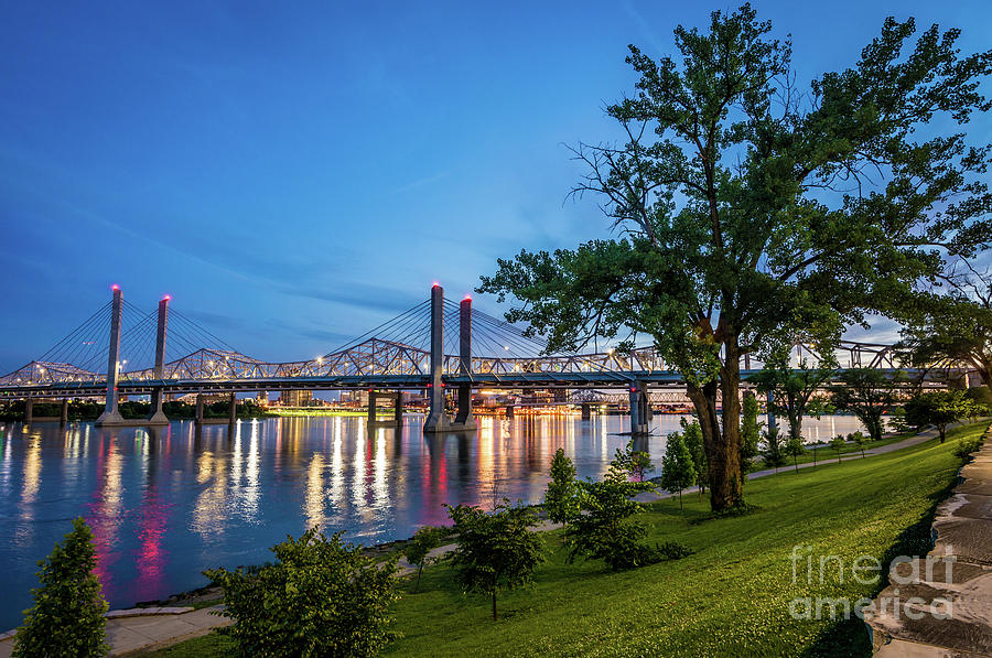 Jeffersonville Indiana Waterfront at Night  by Gary Whitton