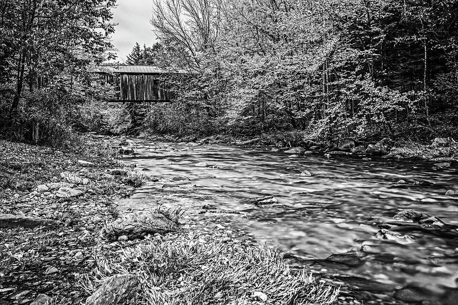 Jeffersonville Poland Covered Bridge Jeffersonville VT Fall Foliage Lamoille River Black and White by Toby McGuire