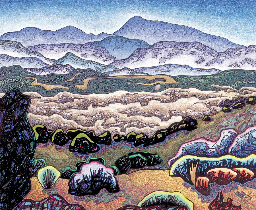 Jemez Mountains Drawing - Jemez Mountains by Dale Beckman
