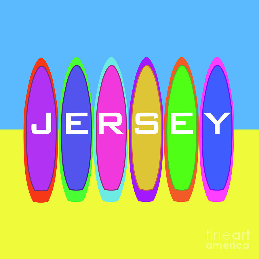 Jersey Text on Surfboards by Barefoot Bodeez Art