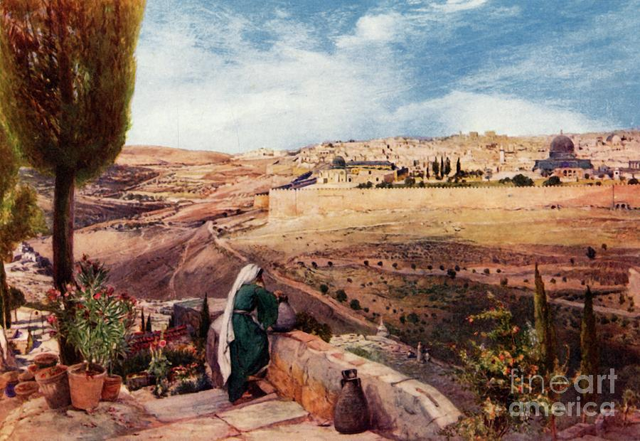 Jerusalem From  The Mount Of Olives Drawing by Print Collector