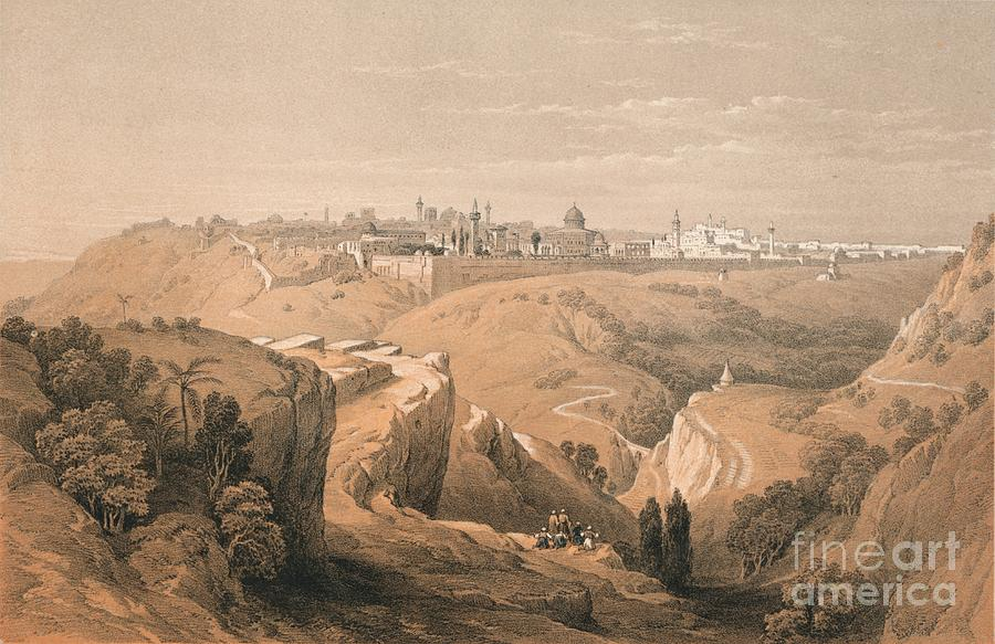 Jerusalem From The Road Leading Drawing by Print Collector