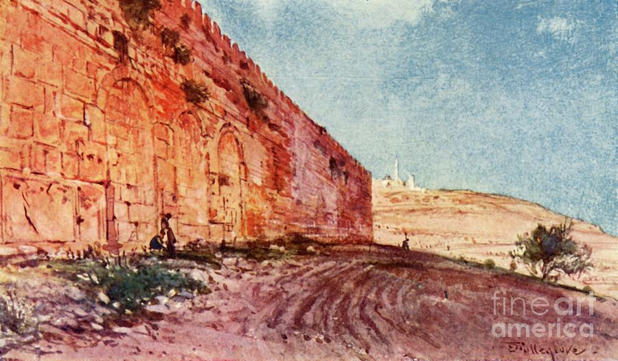 Jerusalem - The Triple Gate Drawing by Print Collector