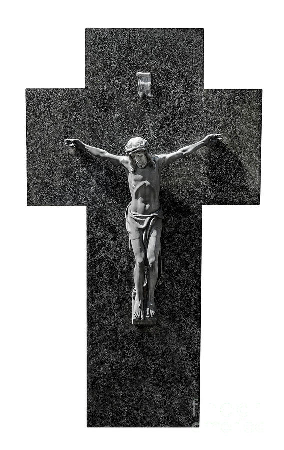 Jesus Christ sculpture on a marble cross in black and white. by Ulrich Wende