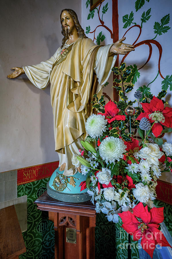 Catholic Photograph - Jesus Christ With Flowers by Adrian Evans