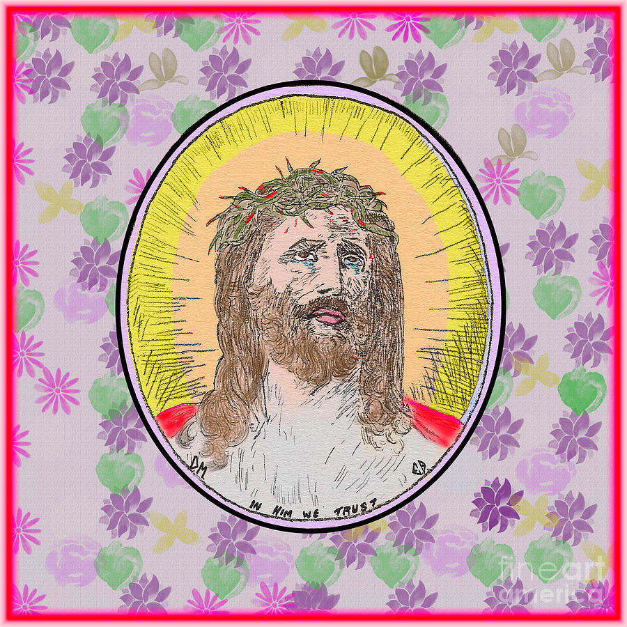 Jesus Flowers Edges by Donna L Munro