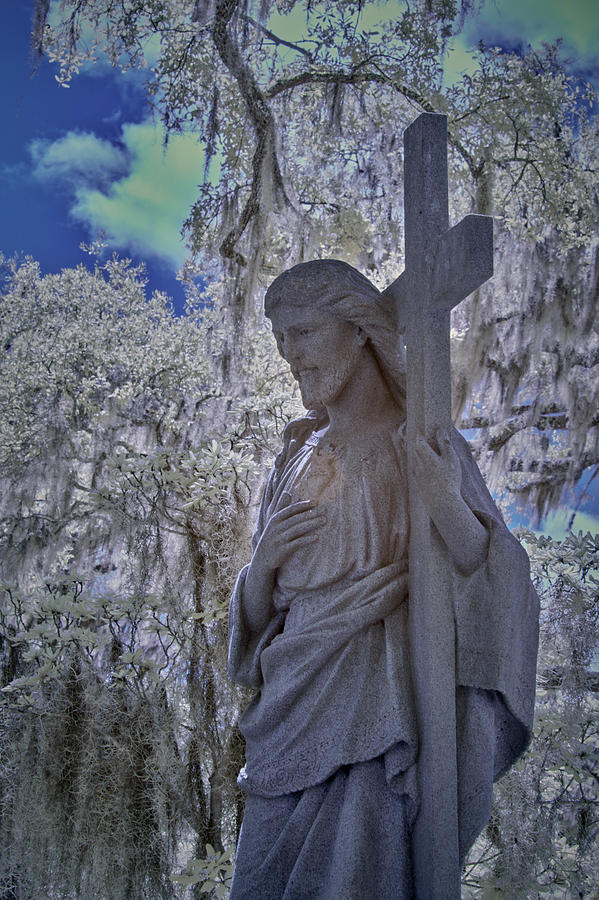 Cemetary Photograph - Jesus Graveyard Statue by Jon Glaser