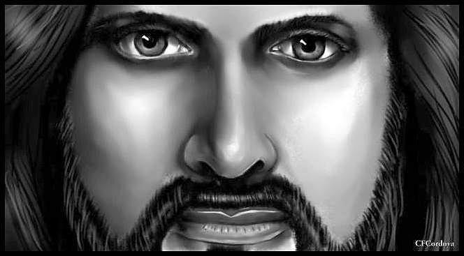 Jesus in Black and white by Carmen Cordova