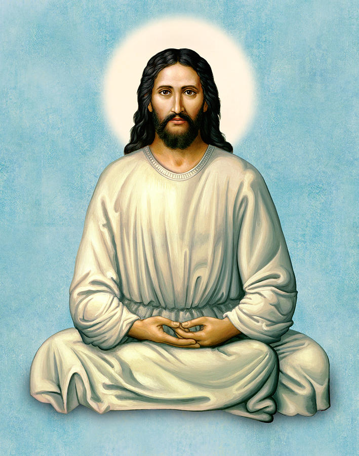 Jesus Meditating - The Christ of India - on Blue by Sacred Visions