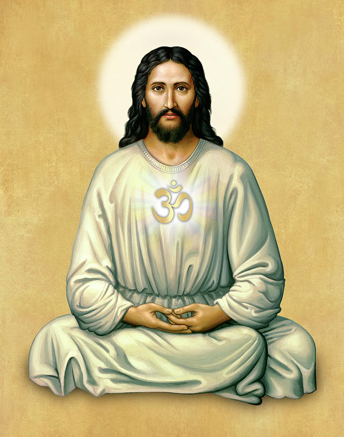 Jesus Meditating - The Christ Of India - on Gold with OM by Sacred Visions