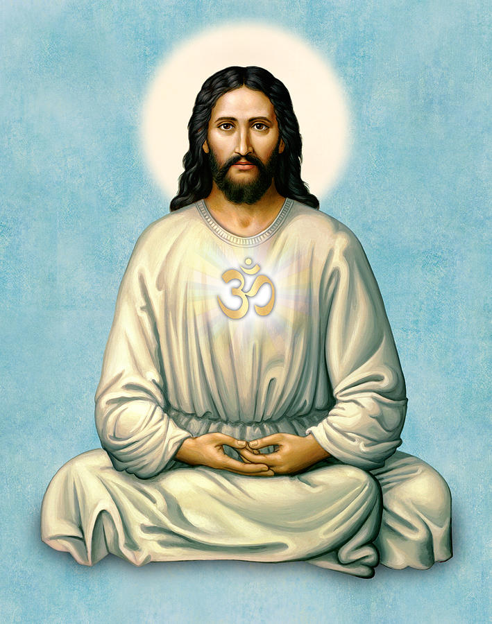 Jesus Meditating with OM on Blue by Sacred Visions
