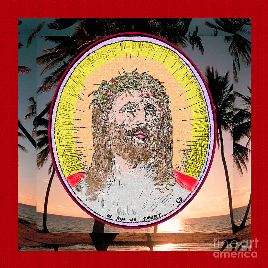 Jesus on Palms Red Effect by Donna L Munro