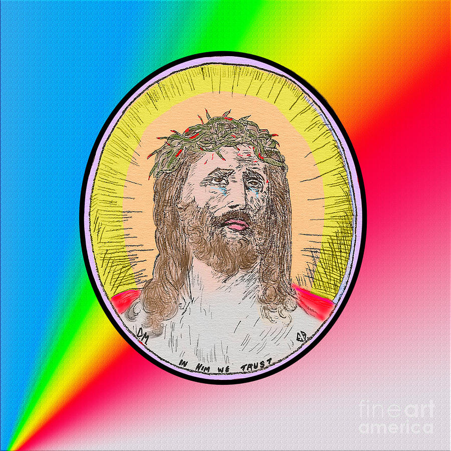 Jesus on Rainbow by Donna L Munro