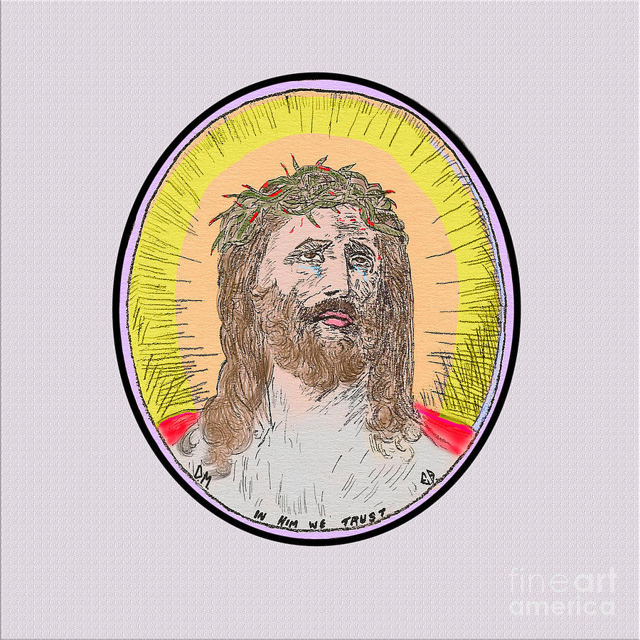 Jesus on white by Donna L Munro