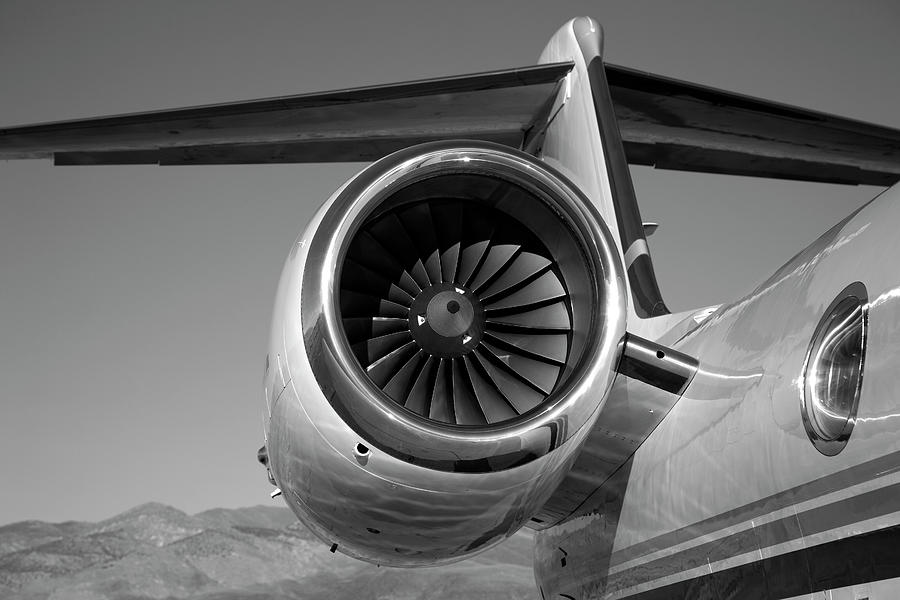 Jet Engine In Black And White Photograph by Sierrarat