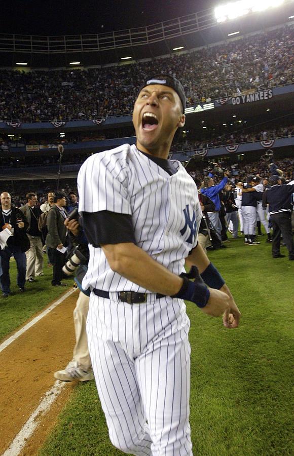 Jeter Celebrates Win Photograph by Ezra Shaw