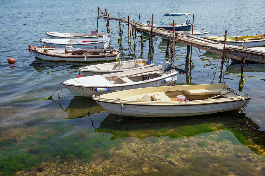 Jetty Photograph - Jetty With Moored Boats.  Porec by Ken Welsh