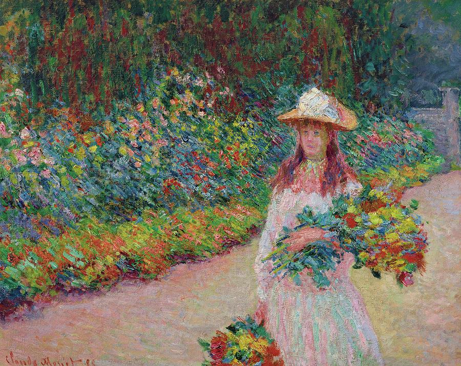 Claude Monet Painting - Jeune Fille Dans Le Jardin De Giverny by Claude Monet
