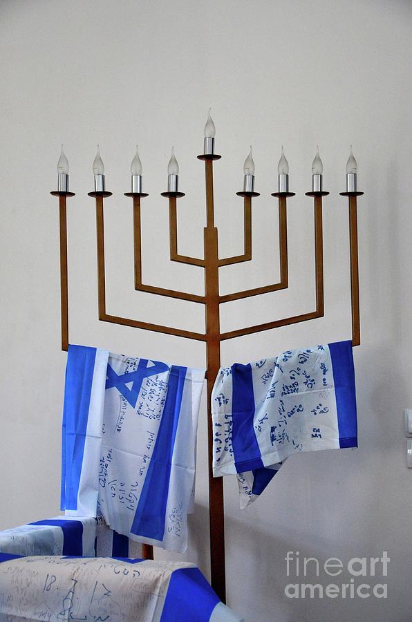 Jewish menorah hanukkah candle stand with Israel flags Batumi Georgia by Imran Ahmed
