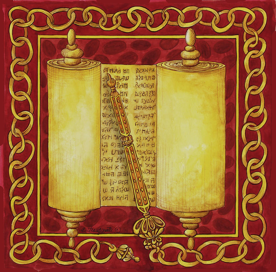 Jewish Painting - Jewish Year Torah Scroll by Andrea Strongwater