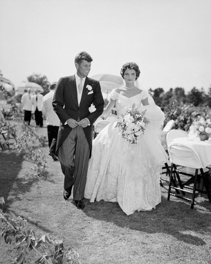 Jfk And Jackie Kennedy At Their Wedding Photograph by Bachrach
