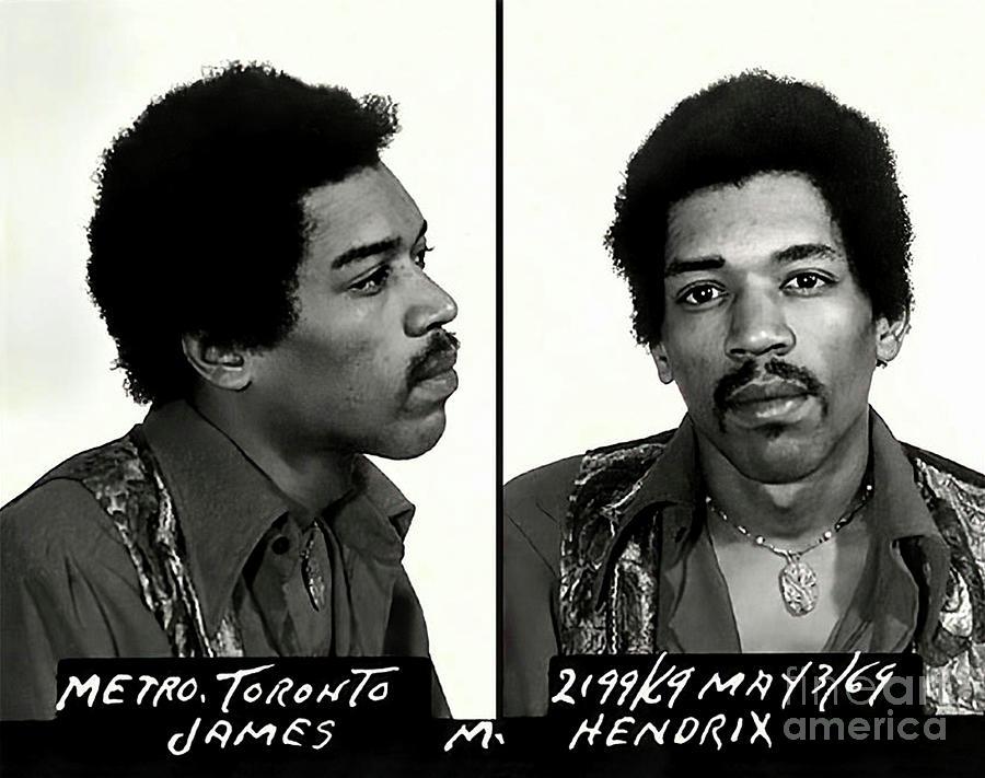 Jimi Hendrix Mugshot - Toronto 1969 by Doc Braham