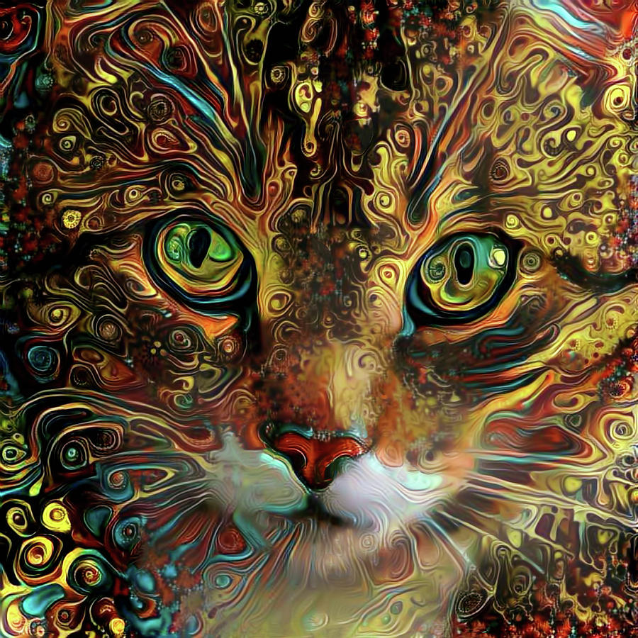 Jimi the Psychedelic Tabby Cat by Peggy Collins
