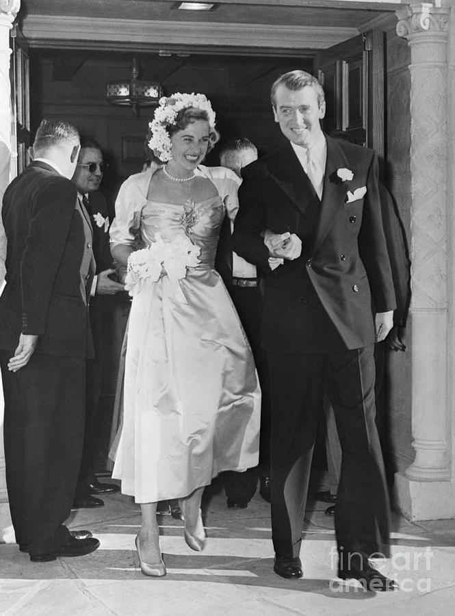 Jimmy Stewart And Bride Leave Church Photograph by Bettmann