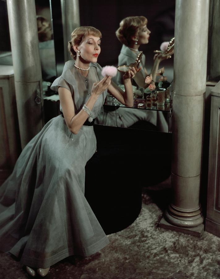 Jo Copeland In A Gray Dress Photograph by Horst P. Horst