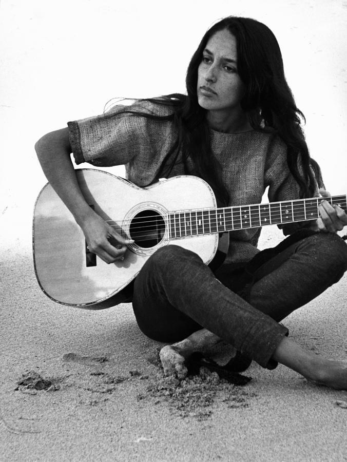 Guitarist Photograph - Joan Baez Playing Guitar On The Beach by Ralph Crane