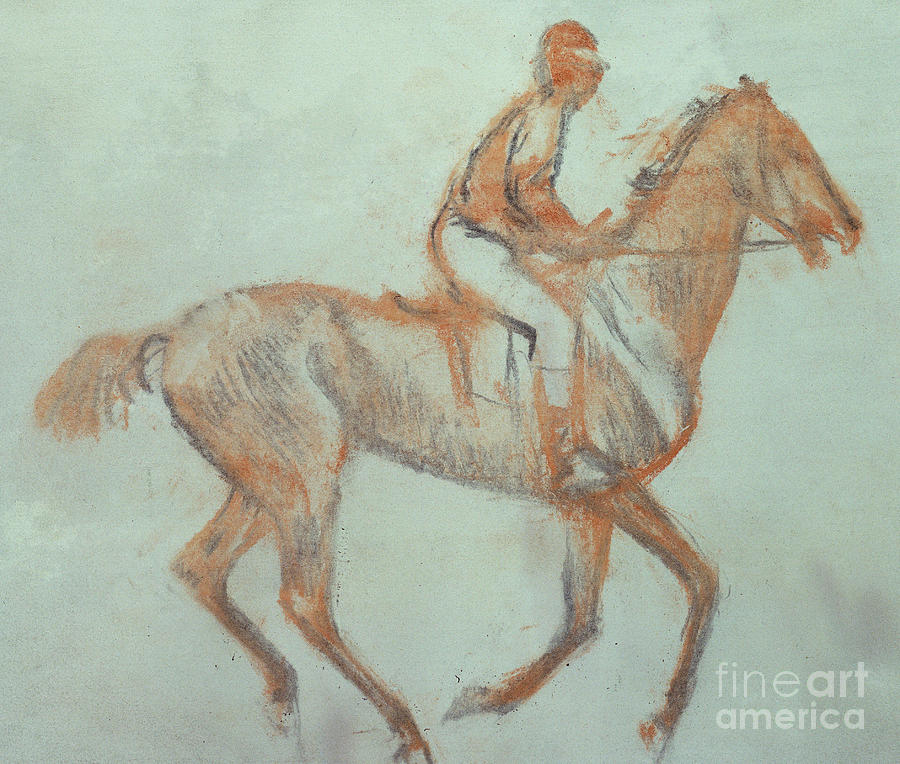 Impressionist Pastel - Jockey At A Canter by Edgar Degas