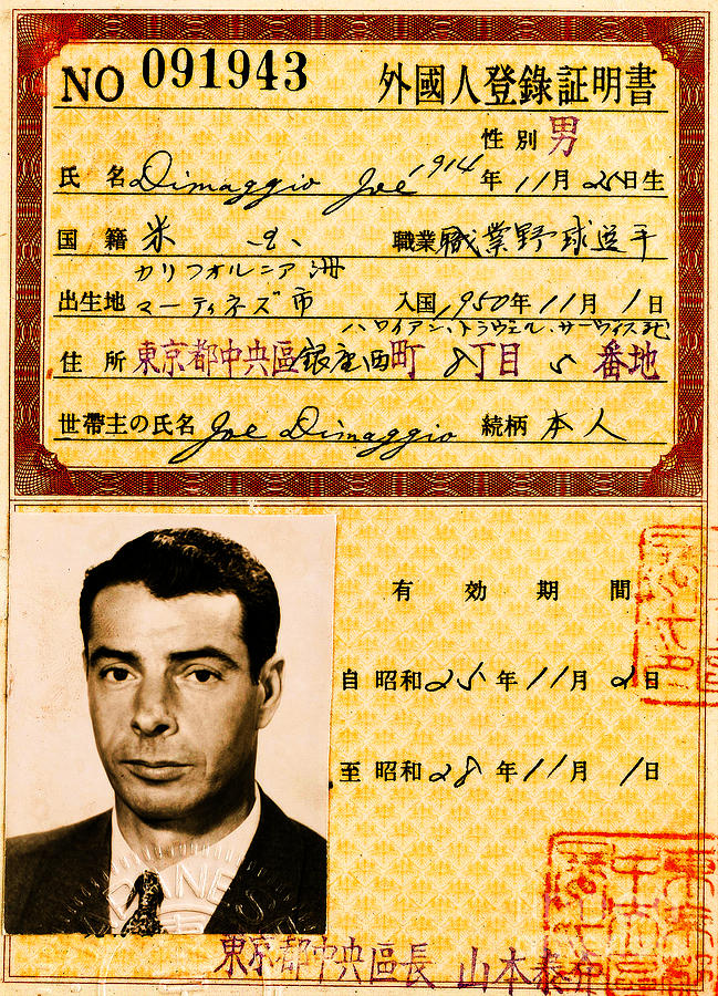Joe Dimaggio Mixed Media - Joe DiMaggio 1950s Baseball Tour Pass by Peter Ogden Gallery