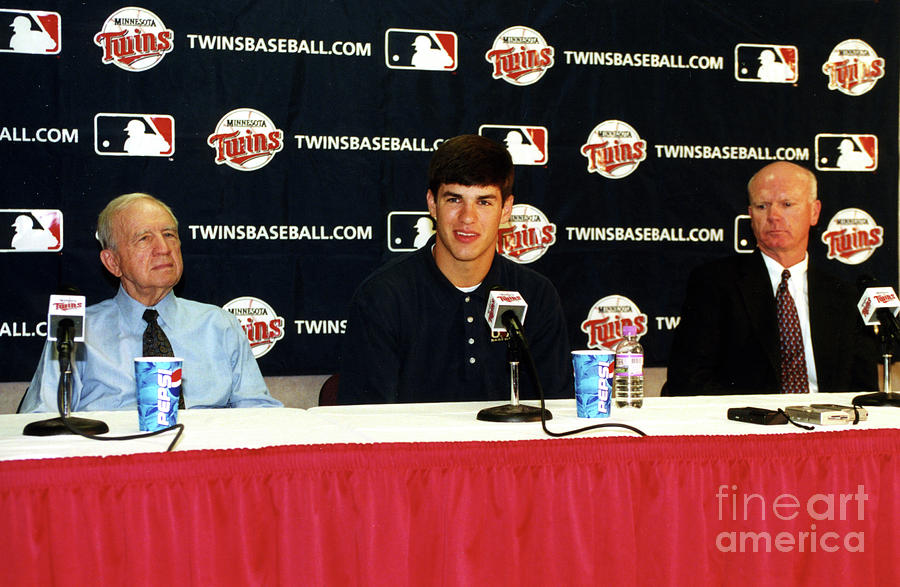 Joe Mauer Press Conference Photograph by Mlb Photos