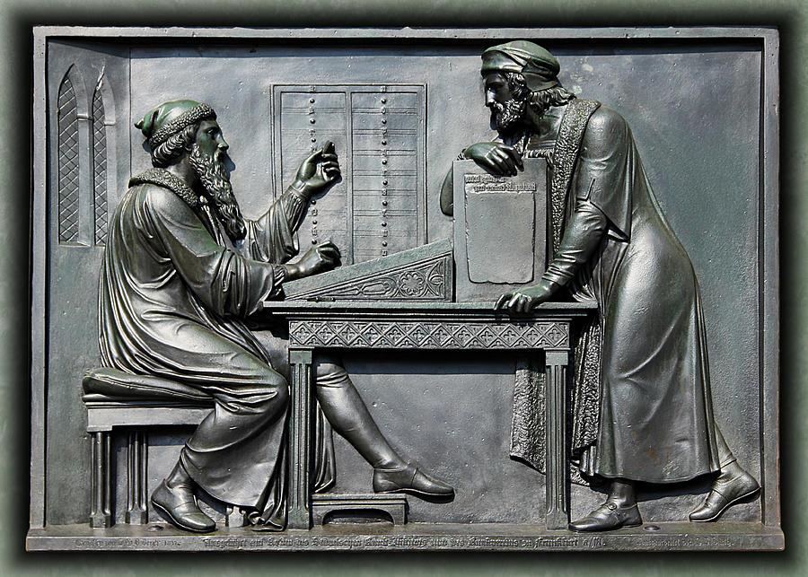 Johannes Gutenberg Bas Relief by Debi Dalio