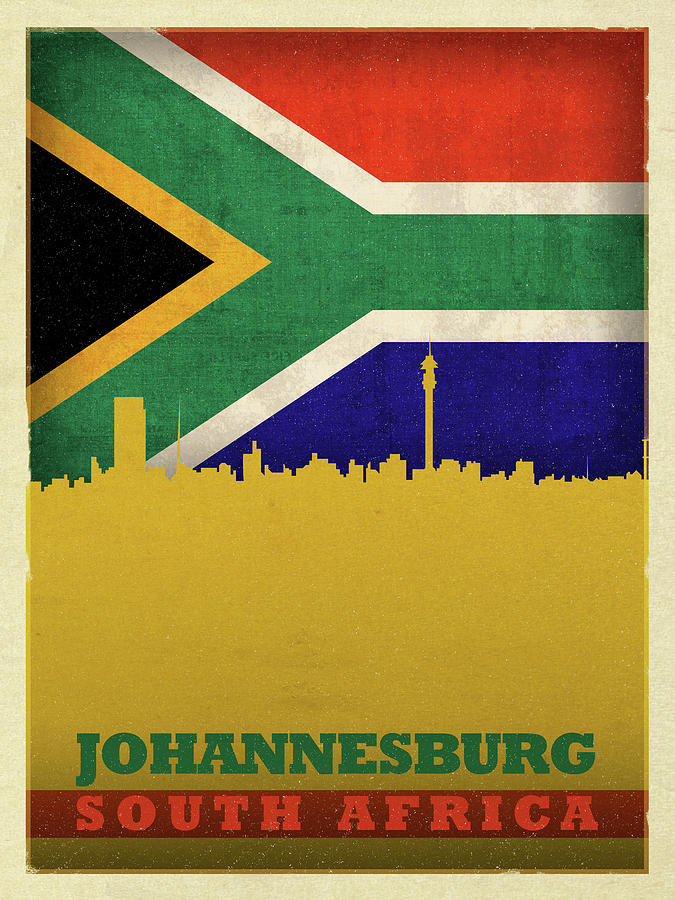 Johannesburg Mixed Media - Johannesburg South Africa World City Flag Skyline by Design Turnpike