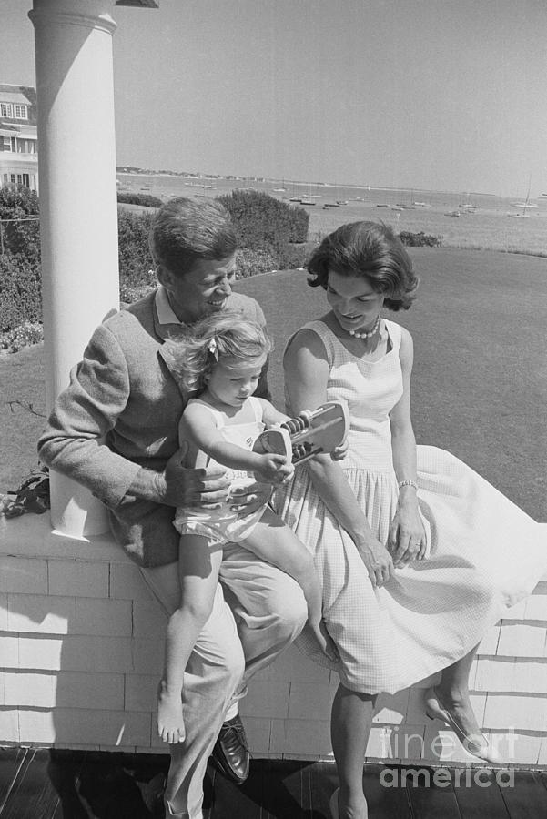 John And Jackie Kennedy With Daughter Photograph by Bettmann