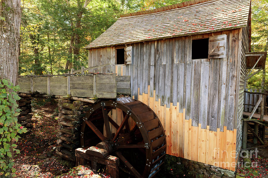 Rustic Photograph - John Cable Mill In Cades Cove Historic Area In Smoky Mountains by Louise Heusinkveld