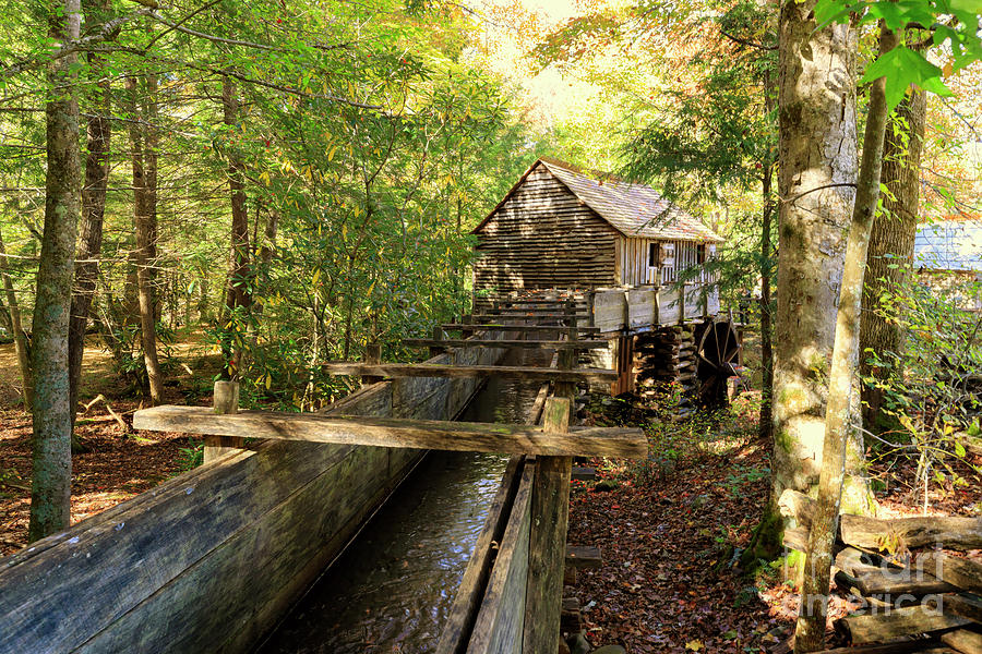 Rustic Photograph - John Cable Mill In Cades Cove Historic Area In The Smoky Mountains by Louise Heusinkveld