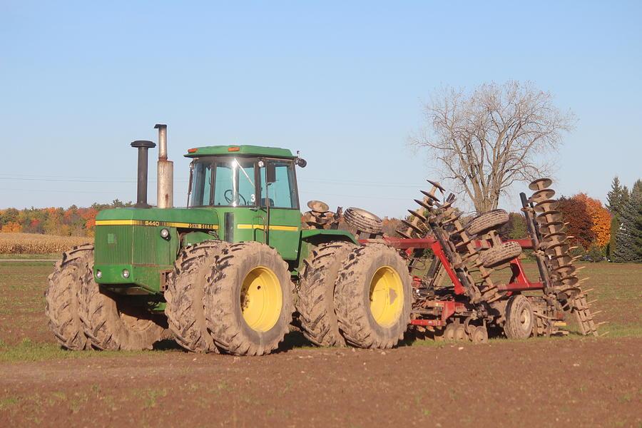 John Deere Tractor Photograph - John Deere Tractor And Disk by Callen Harty