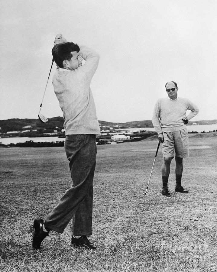 John F. Kennedy Golfing In Bermuda Photograph by Bettmann