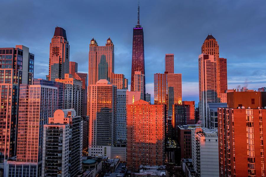 John Hancock Sunset - Chicago, IL by Bobby King