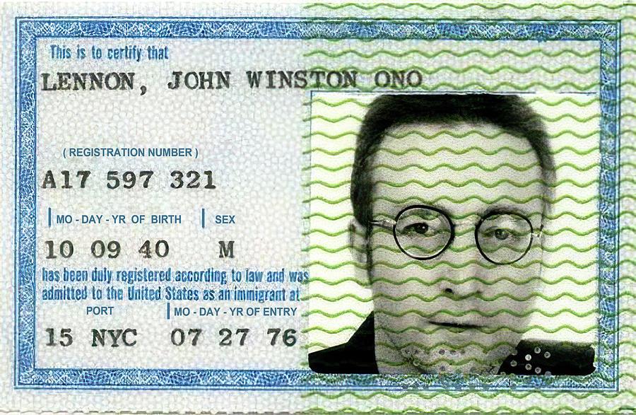 Green Card Photograph - John Lennon Immigration Green Card 1976 by Daniel Hagerman