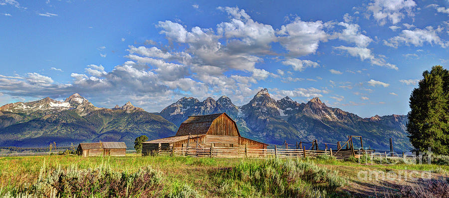 John Moultan Barn and Tetons Panorama by Jean Hutchison